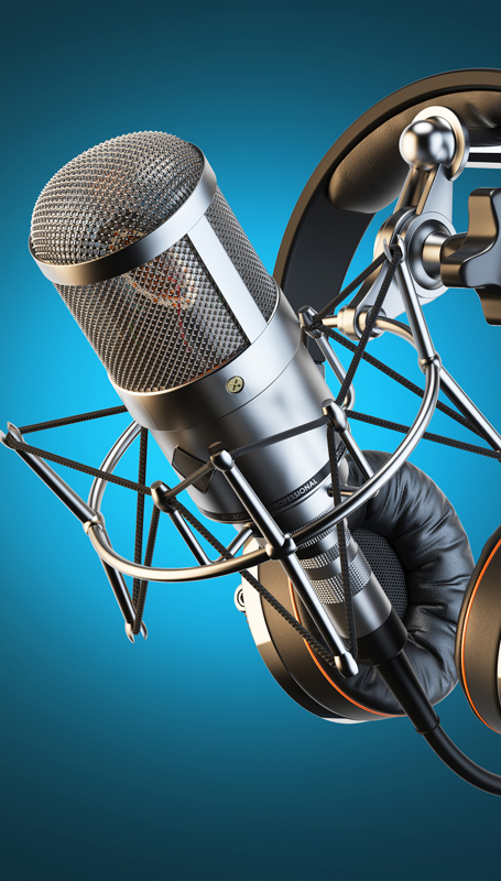 Headphones on microphone stand, professional studio. 3d illustration